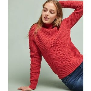Anthro Chloe Oliver Sitka Textured Pom Pom Sweater